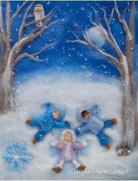 Snow Angels Wol Schilderij Illustratie Giclee Print Uit Seizoenen Van Vreugde, Ondertekend by Etsy