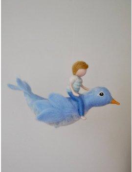 Vogel Mobile/Wol Decoratie /Needle Voelde Muur Opknoping: De Jongen En De Blauwe Vogel by Etsy