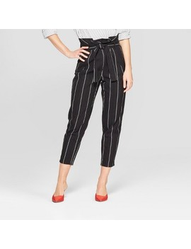 Women's Mid Rise Striped Paperbag Pants   Who What Wear™ Black by Who What Wear