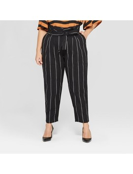 Women's Plus Size Mid Rise Striped Paperbag Pants   Who What Wear™ Black by Who What Wear