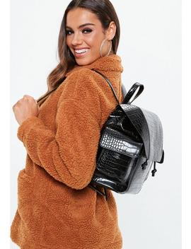 Black Croc Backpack by Missguided