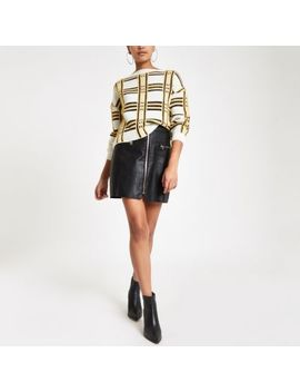 Yellow Check Boat Neck Fluffy Jumper by River Island