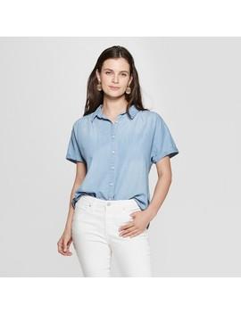 Women's Short Sleeve Collared Denim Camp Shirt   Universal Thread™ Light Wash by Universal Thread