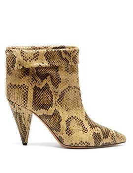 Lisbo Crocodile Print Leather Ankle Boots by Isabel Marant