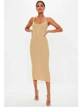 Camel Knitted Ribbed Popper Front Maxi Dress by Missguided