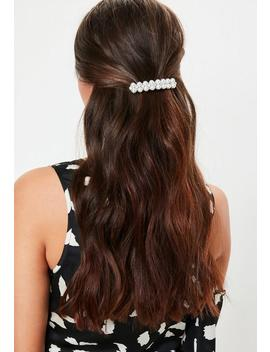 Silver Look Pearl And Diamante Hair Clip by Missguided