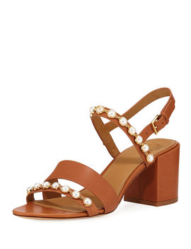 Emmy Pearly Studded Block Heel Sandals by Tory Burch