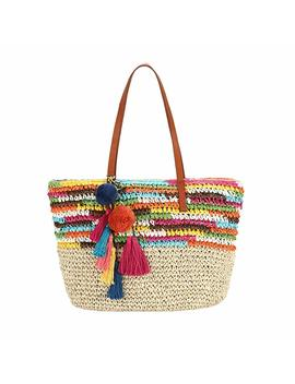 Daisy Rose Large Straw Beach Tote Bag With Pom Poms And Inner Pouch  Vegan Leather Handles by Daisy Rose