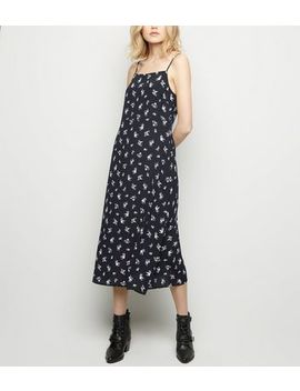Black Floral Square Neck Slip Dress by New Look