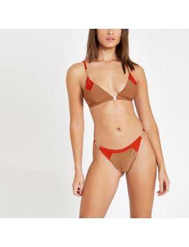 Light Brown Blocked Triangle Bikini Top by River Island