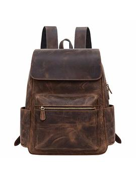 Jack&Chris Genuine Leather Backpack Laptop School College Bag For Men And Women,1802 8 by Jack&Chris