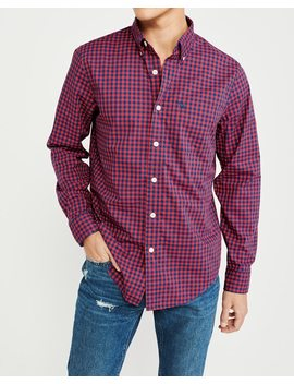 Gingham Icon Poplin Shirt by Abercrombie & Fitch