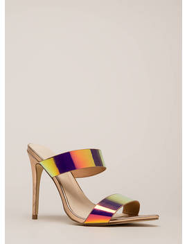 Outshine Strappy Holographic Mule Heels by Go Jane