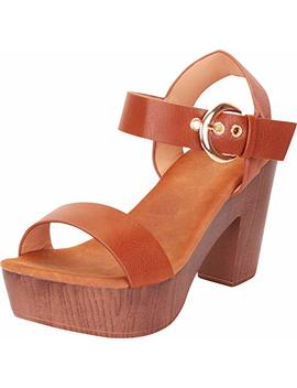 Cambridge Select Women's Retro 70s Clog Chunky Platform Block Heel Sandal by Cambridge Select