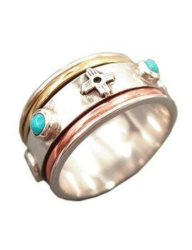 "Energy Stone ""Zia Meditation Spinning Ring (Style# Usa36) by Energy Stone"