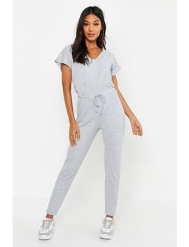 Ribbed Slouch Tie Jumpsuit by Boohoo