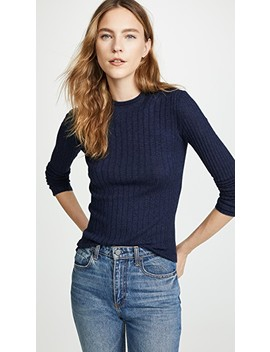 Cashmere Mixed Rib Pullover by Vince