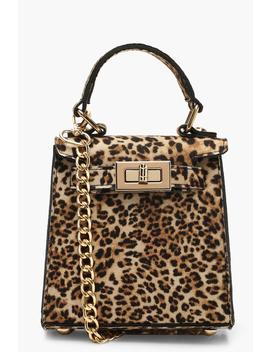 Suedette Leopard Mini Lock Grab Bag by Boohoo