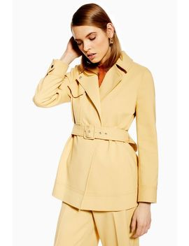 Bonded Belted Jacket by Topshop