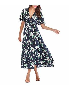 Sunnow Women's Sexy V Neck Floral Print Fluttering Short Sleeves Button Down Midi Wrap Dress by Sunnow