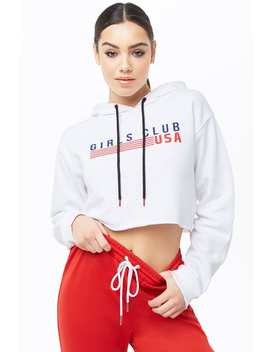 Girls Club Graphic Cropped Hoodie by Forever 21