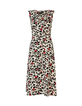 Multi Colour Leopard Print Ruffle Midi Skater Dress by Dorothy Perkins