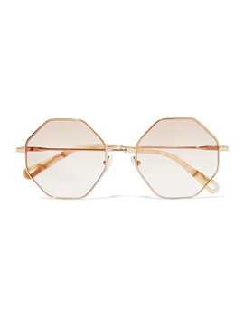 Octagon Frame Gold Tone And Tortoiseshell Acetate Optical Glasses by Chloé