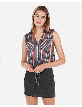 Striped Abbreviated Tie Hem Button Shirt by Express