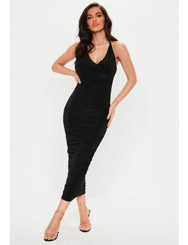 Black Slinky Wrap Ruched Maxi Dress by Missguided