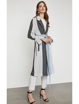 Striped Long Trench Coat by Bcbgmaxazria