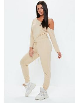 Tall Sand Loopback Off The Shoulder Jumpsuit by Missguided