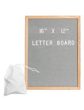 Gray Felt Letter Board With 650 Letters, Numbers & Symbols   16 X 12 Inch Changeable Wooden Message Board Sign by Ilyapa