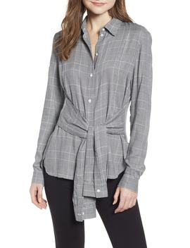 Hold Me Tight Houndstooth Check Tie Front Shirt by Bailey 44
