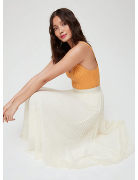 Terre Skirt   Pleated, Chiffon Midi Skirt by Wilfred