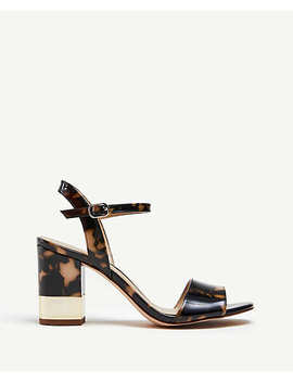 Joann Tortoiseshell Print Patent Leather Heeled Sandals by Ann Taylor
