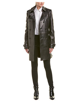 Saint Laurent Belted Leather Trench Coat by Saint Laurent