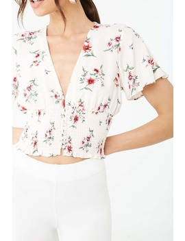Floral Print Smocked Top by Forever 21