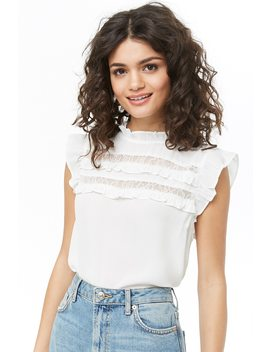 Chiffon Ruffle Trim Top by Forever 21