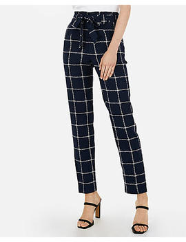 High Waisted Windowpane Sash Waist Ankle Pant by Express
