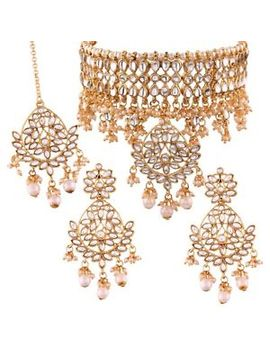 Indian Bollywood White Kundan Choker Necklace Ethnic Gold Plated Traditional Set by I Jewels