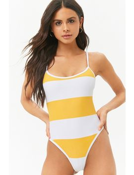 Striped Racerback One Piece Swimsuit by Forever 21