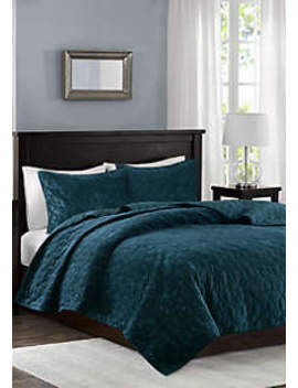 Harper Velvet Teal 3 Piece Coverlet Set by Madison Park