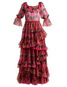 Butterfly Print Ruffled Silk Chiffon Gown by Dolce & Gabbana