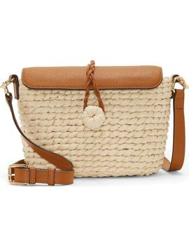 Kiana Leather & Straw Crossbody Bag by Vince Camuto