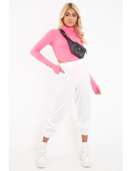 Neon Pink High Neck Long Sleeve High Leg Bodysuit   Shyona by Rebellious Fashion