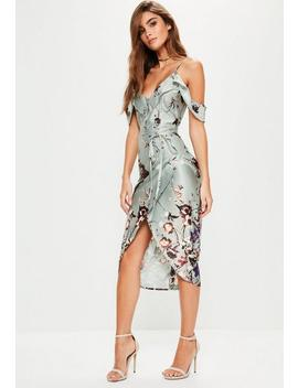 Gray Frill Floral Midi Dress by Missguided