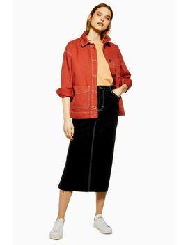 Side Split Denim Midi Skirt by Topshop