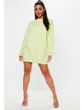 Lime Fluro Long Sleeve Oversized Sweater Dress by Missguided