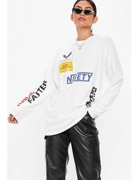 White Oversized Msgd T Shirt by Missguided