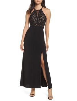 Lace & Illusion Mesh Bodice Gown by Morgan & Co.